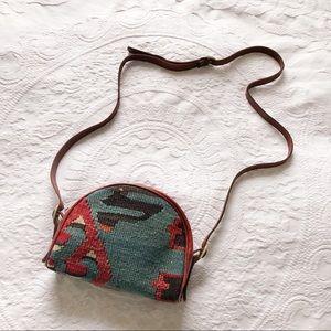 Vintage Kilim and leather crossbody bag